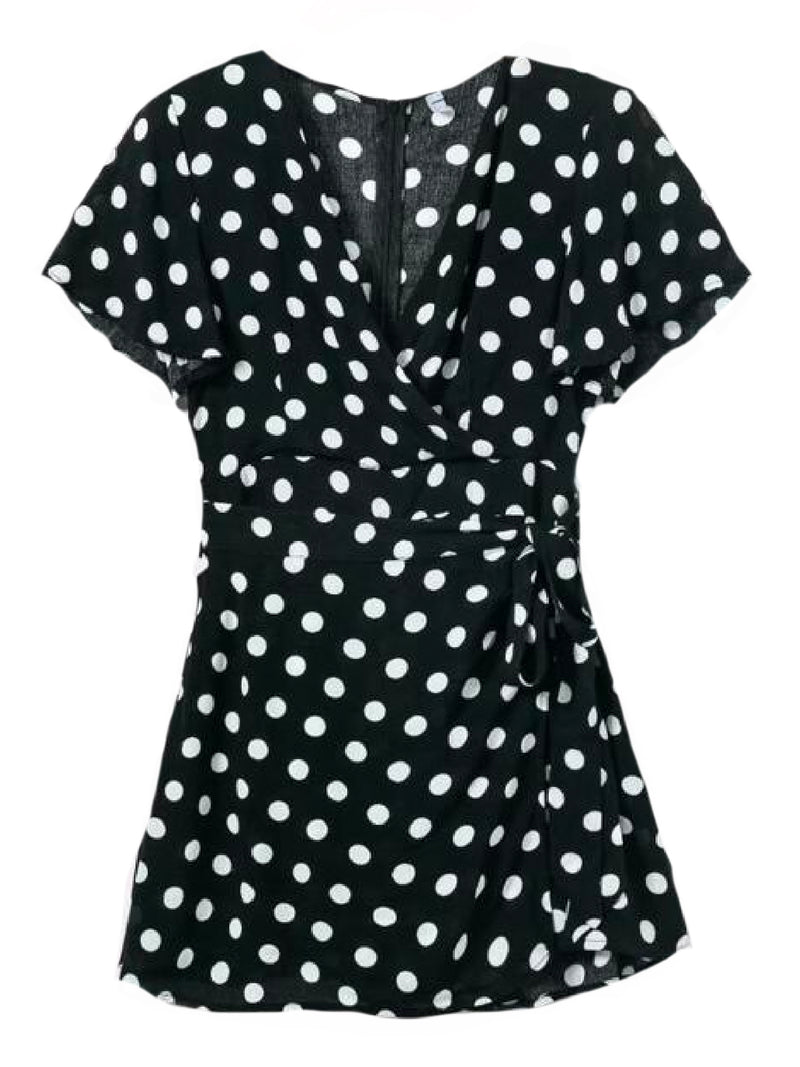 Goodnight Macaroon 'Wendy' Polka Dot Waist Tied Wrap Dress Black Front