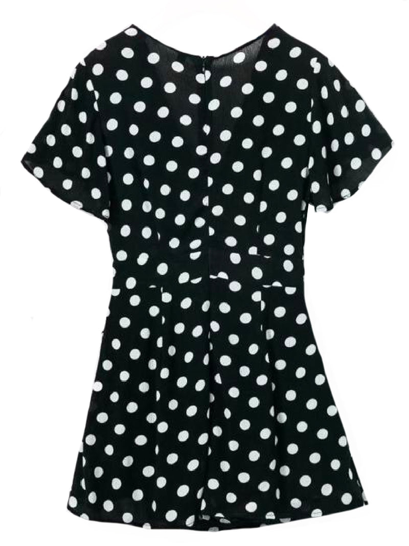 Goodnight Macaroon 'Wendy' Polka Dot Waist Tied Wrap Dress Black Back