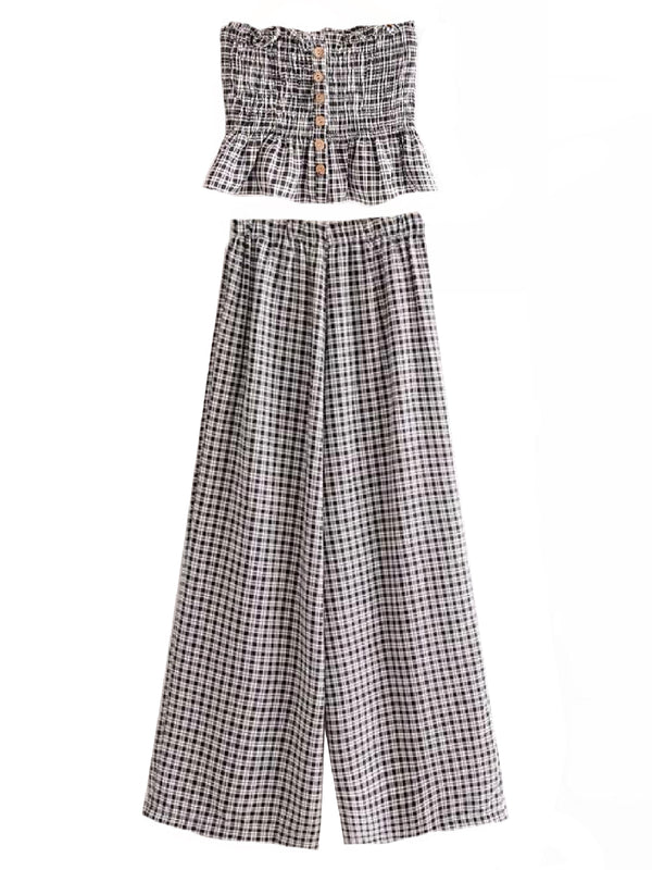 Goodnight Macaroon 'Ladonna' Gingham Tube Top and Pants Two Piece Set Front