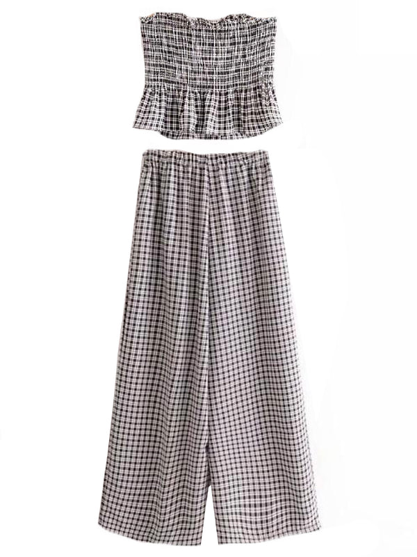 Goodnight Macaroon 'Ladonna' Gingham Tube Top and Pants Two Piece Set Back