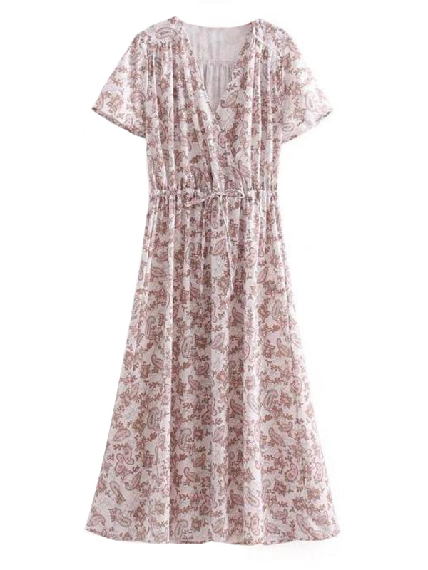 Goodnight Macaroon 'Kirsten' Jacquard Print Wrap Top Maxi Dress Front