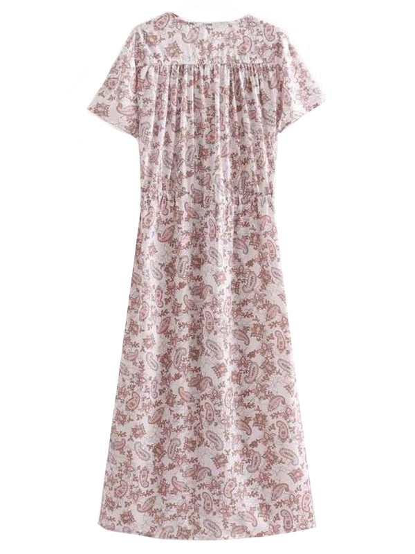 Goodnight Macaroon 'Kirsten' Jacquard Print Wrap Top Maxi Dress Back