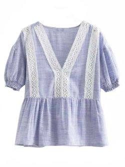 Goodnight Macaroon 'Evana' Striped Crochet Lace Peplum Top Front