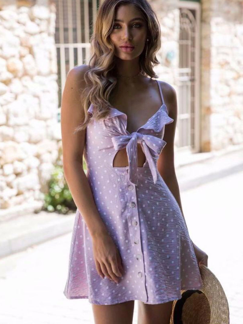 Goodnight Macaroon 'Jade' Polka Dot Cut Out Button Front Sundress Pink Model