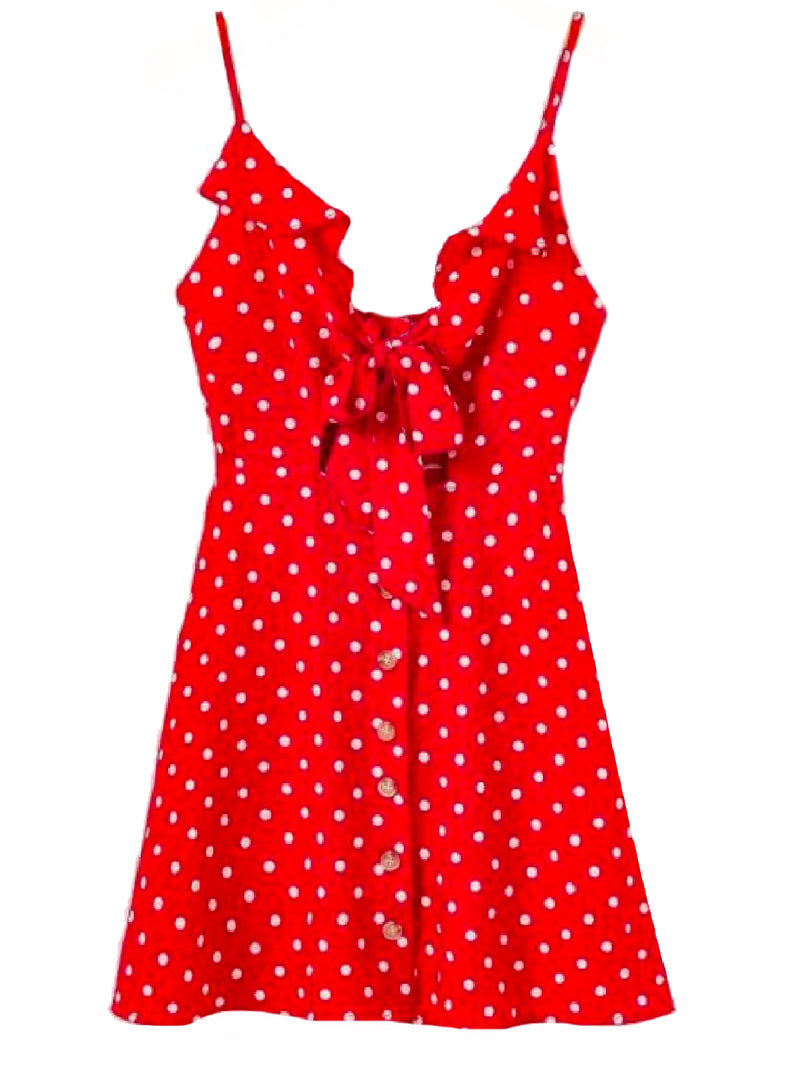 Goodnight Macaroon 'Jade' Polka Dot Cut Out Button Front Sundress Red Front
