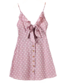Goodnight Macaroon 'Jade' Polka Dot Cut Out Button Front Sundress Pink Front