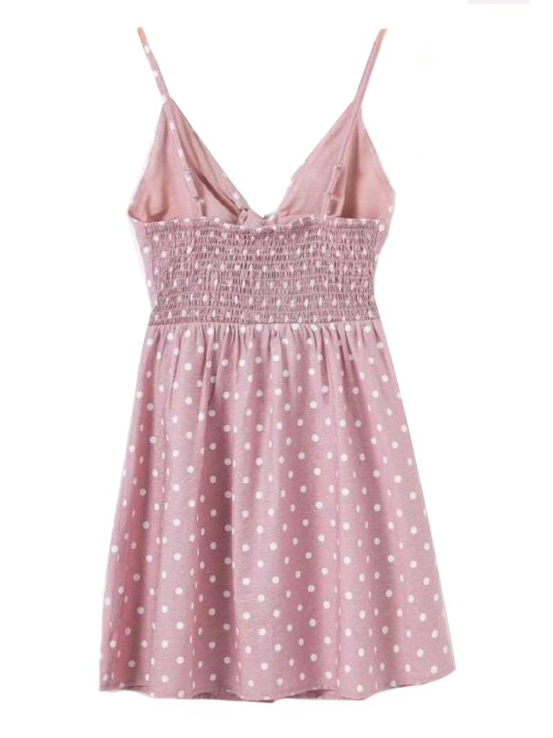 Goodnight Macaroon 'Jade' Polka Dot Cut Out Button Front Sundress Pink Back