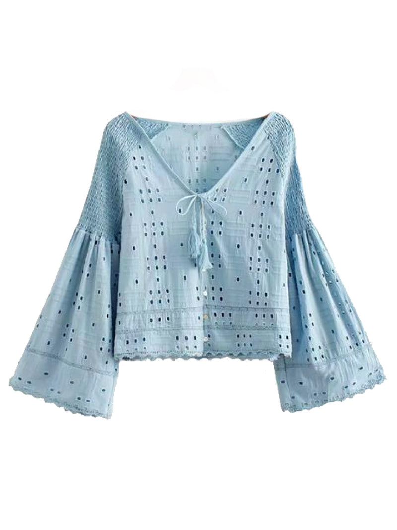 Goodnight Macaroon 'Jolia' Eyelet Tied Front Flare Sleeve Top Blue Front