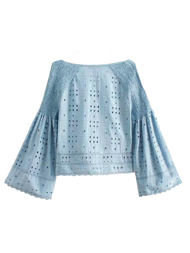 Goodnight Macaroon 'Jolia' Eyelet Tied Front Flare Sleeve Top Blue Back