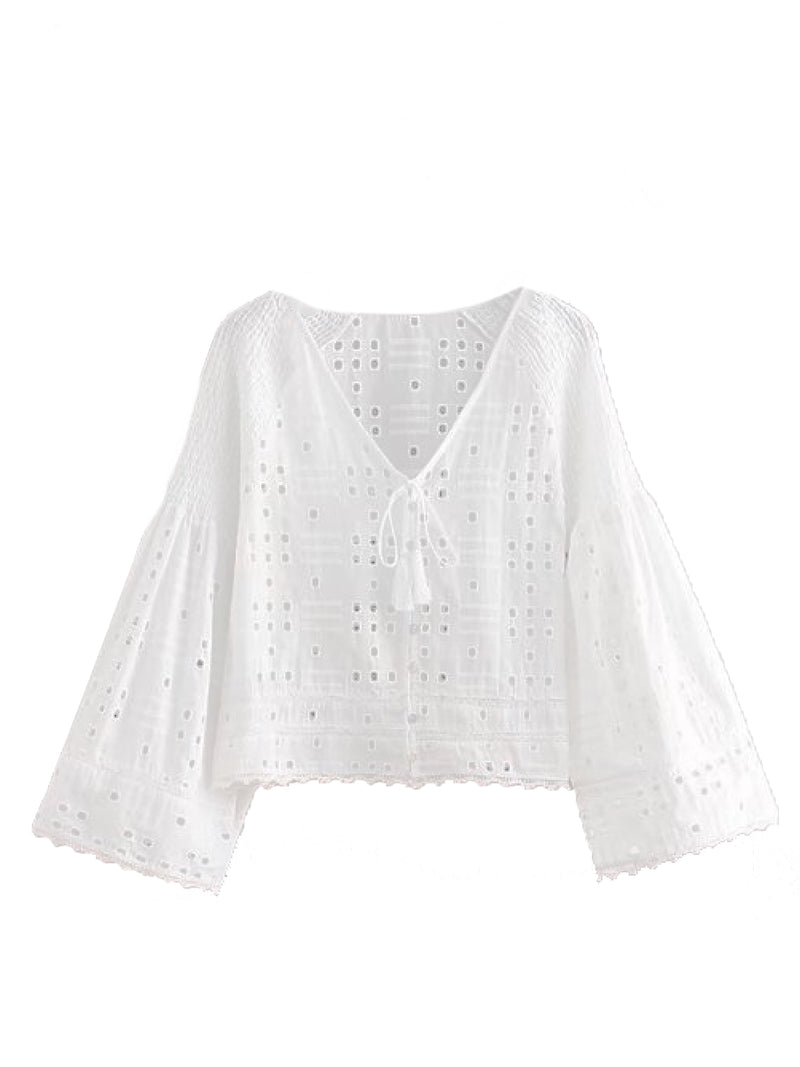 Goodnight Macaroon 'Jolia' Eyelet Tied Front Flare Sleeve Top White Front