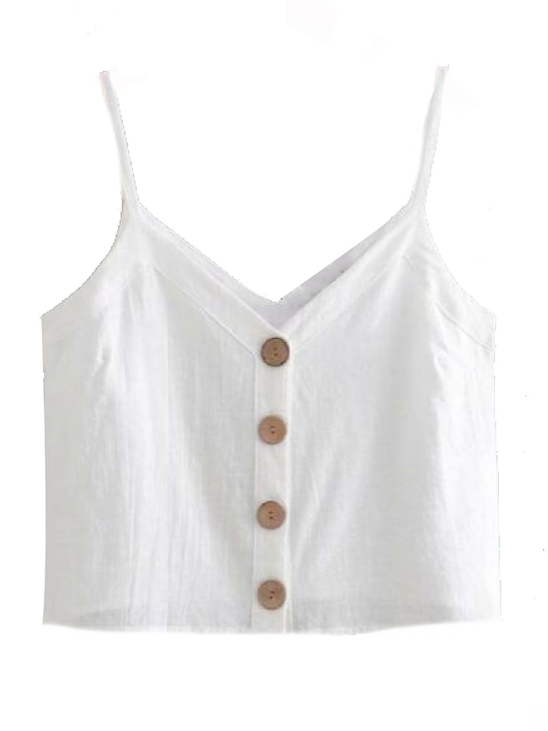 Goodnight Macaroon 'Libbie' Button Front Linen Cropped Cami Top White Front