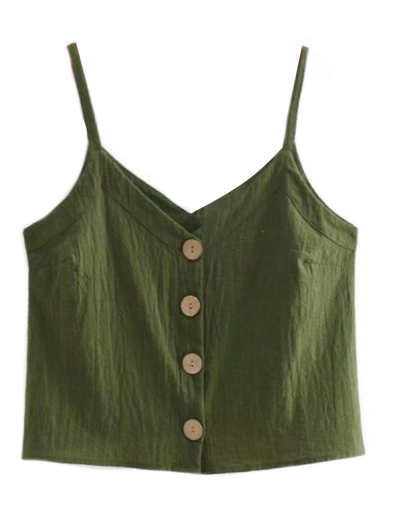 Goodnight Macaroon 'Libbie' Button Front Linen Cropped Cami Top Green Front
