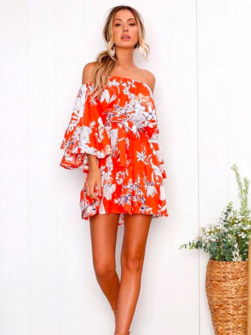 Goodnight Macaroon 'Sabra' Floral Off The Shoulder Mini Dress Model Front 1