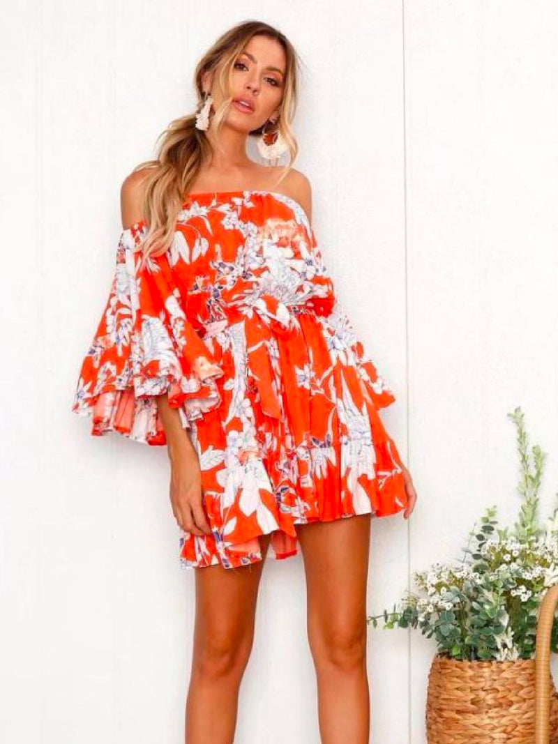 Goodnight Macaroon 'Sabra' Floral Off The Shoulder Mini Dress Model Front 2