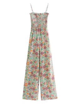 Goodnight Macaroon 'Kaelan' Floral Ruched Top Wide Leg Jumpsuit Front