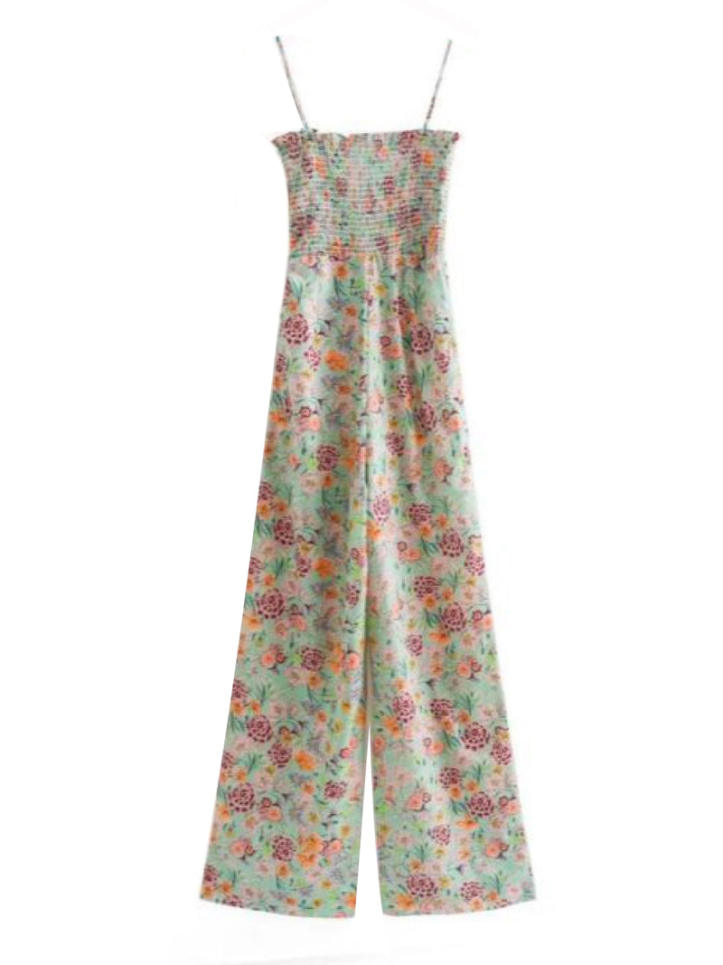 Goodnight Macaroon 'Kaelan' Floral Ruched Top Wide Leg Jumpsuit Back