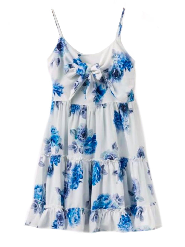Goodnight Macaroon 'Charlene' Blue Floral Bow Tied Front Frilled Sundress Front