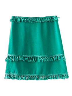 Goodnight Macaroon 'Catrina' Tassels A Line Mini Skirt Green Front