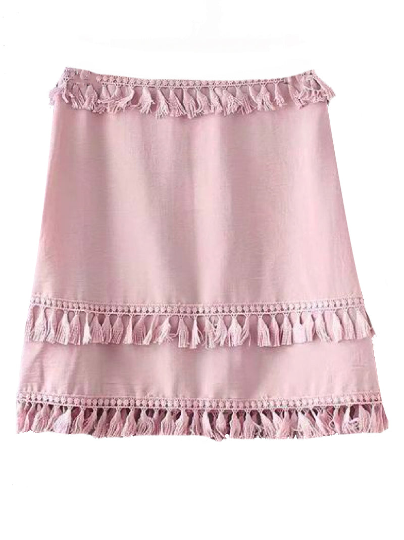 Goodnight Macaroon 'Catrina' Tassels A Line Mini Skirt Pink Front