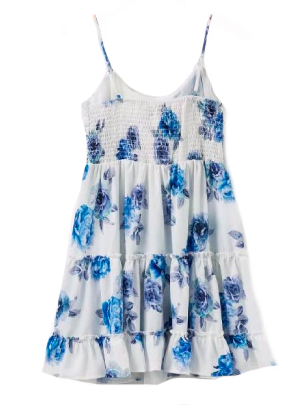 Goodnight Macaroon 'Charlene' Blue Floral Bow Tied Front Frilled Sundress Back