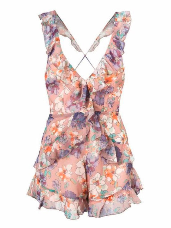 Goodnight Macaroon 'Nakia' Floral Cross Back Frilled Plunge Neck Romper Front