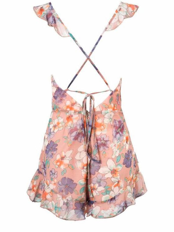 Goodnight Macaroon 'Nakia' Floral Cross Back Frilled Plunge Neck Romper Back