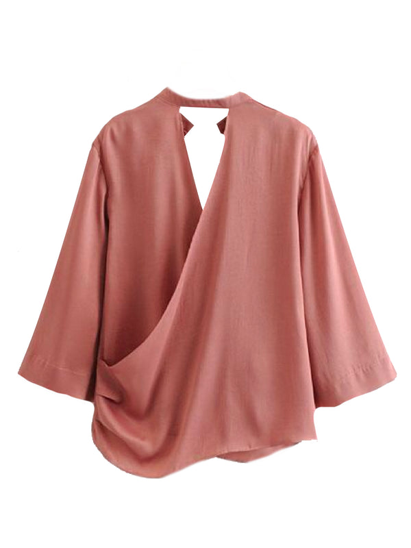 Goodnight Macaroon 'Jill' Open Back Flare Sleeve V Neck Top Back