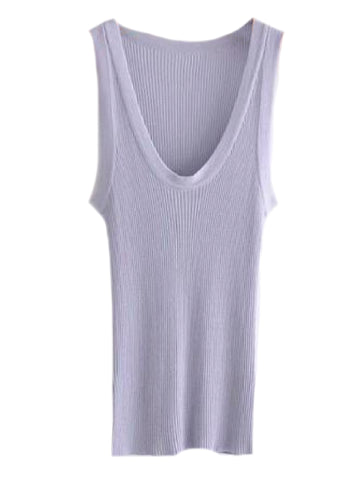 Goodnight Macaroon 'Yara' Lilac Ribbed Crewneck Sleeveless Tank Top Front