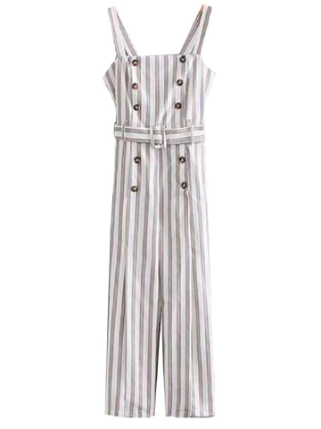 Goodnight Macaroon 'Fannie' Striped Belted Button Detail Jumpsuit Front