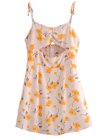 Goodnight Macaroon 'Waynoka' Floral Cut-Out Tied Shoulder Strap Sundress Front