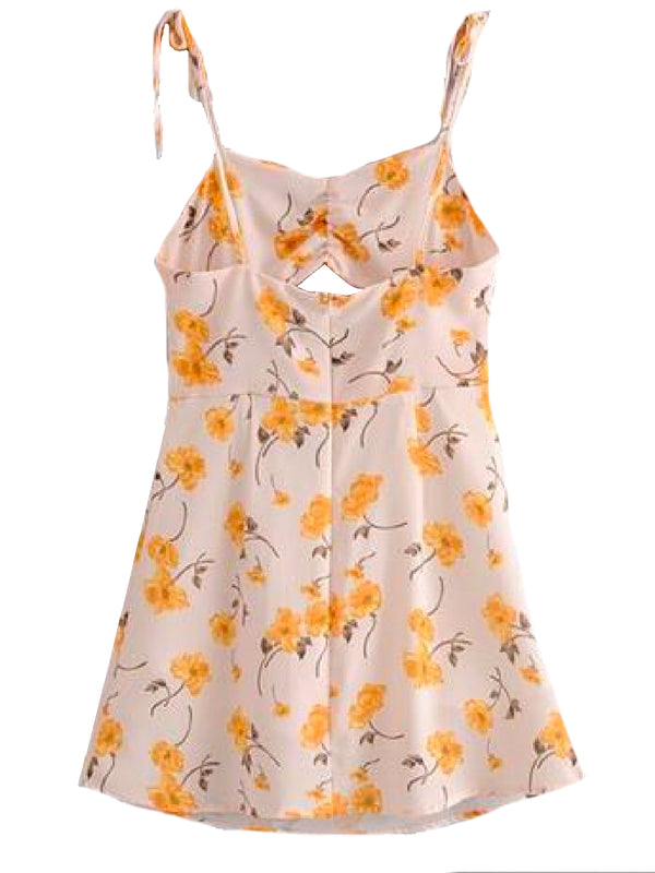 Goodnight Macaroon 'Waynoka' Floral Cut-Out Tied Shoulder Strap Sundress Back