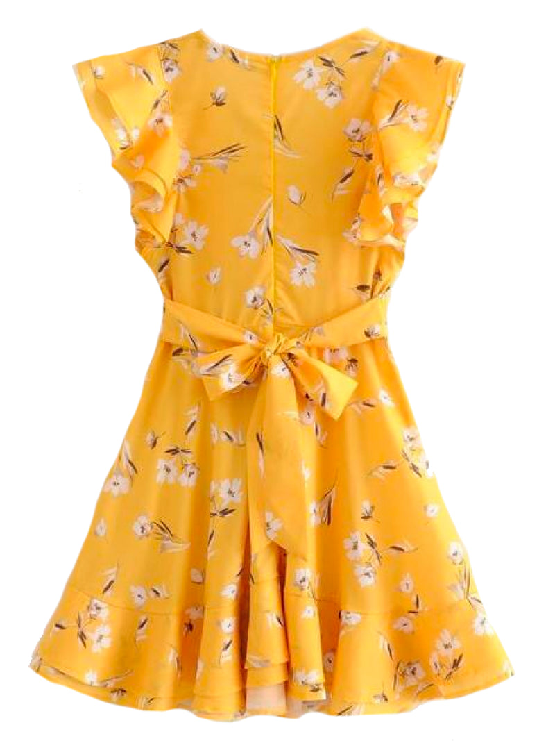 Goodnight Macaroon 'Rosemary' Yellow Floral Frilly Tied Sundress Back