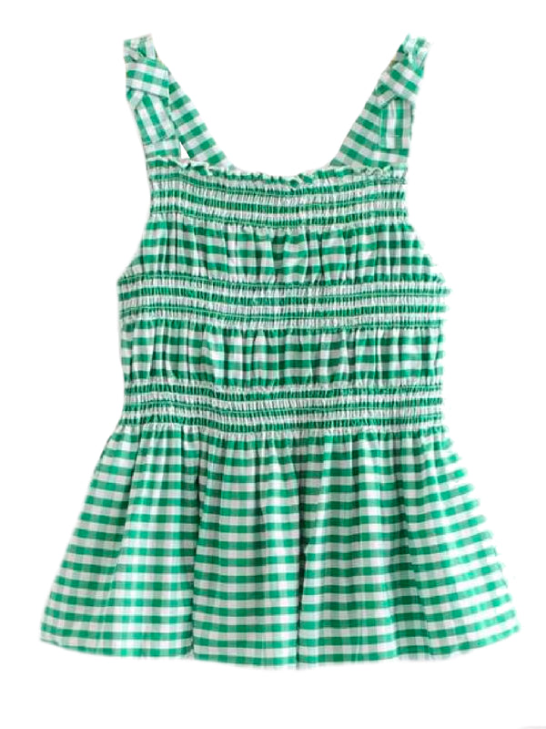 Goodnight Macaroon 'Trina' Green Gingham Ruched Peplum Top Front