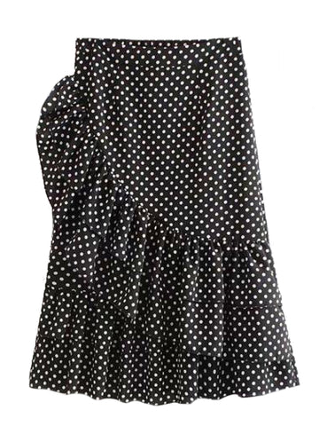 Goodnight Macaroon 'Tova' Polka Dot Asymmetric Ruffle Skirt Black Front