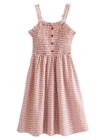 Goodnight Macaroon 'Nadie' Gingham Strap Button Front Midi Dress Front
