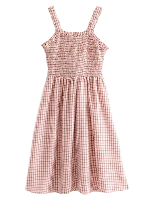 Goodnight Macaroon 'Nadie' Gingham Strap Button Front Midi Dress Back