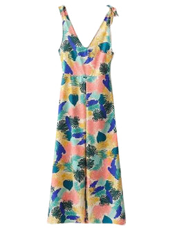 Goodnight Macaroon 'Persia' Tropical Print Tied Shoulder Strap Jumpsuit Front