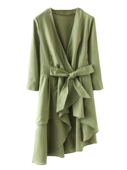 Goodnight Macaroon 'Grace' Olive Green Asymmetric Wrap Dress Front