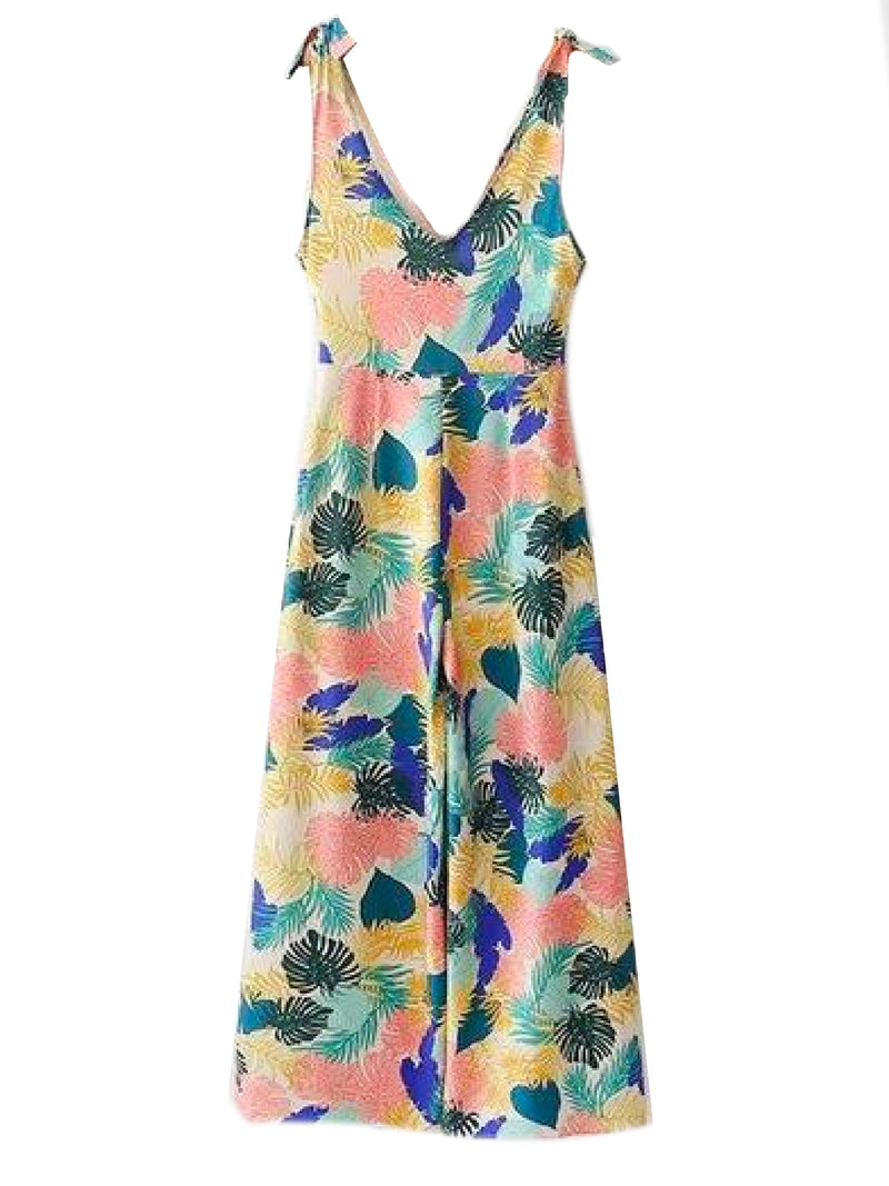Goodnight Macaroon 'Persia' Tropical Print Tied Shoulder Strap Jumpsuit Back