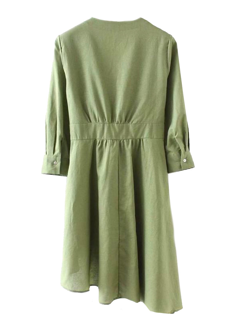 Goodnight Macaroon 'Grace' Olive Green Asymmetric Wrap Dress Back