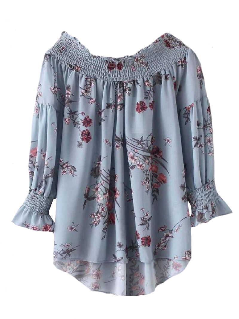 Goodnight Macaroon 'Nancy' Floral Ruched Off The Shoulder Top Front
