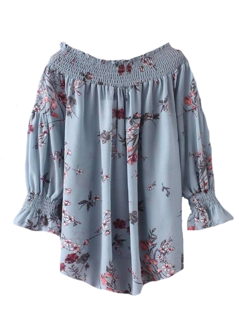 Goodnight Macaroon 'Nancy' Floral Ruched Off The Shoulder Top Back