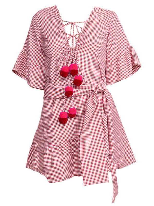 Goodnight Macaroon 'Nasya' Gingham Tied Front Pom Pom Ruffle Wrap Dress Product Front Red