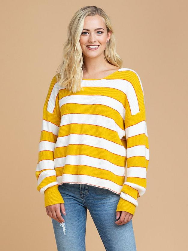 Goodnight Macaroon 'Scarlett' Striped Knitted Crew Neck Sweater Front
