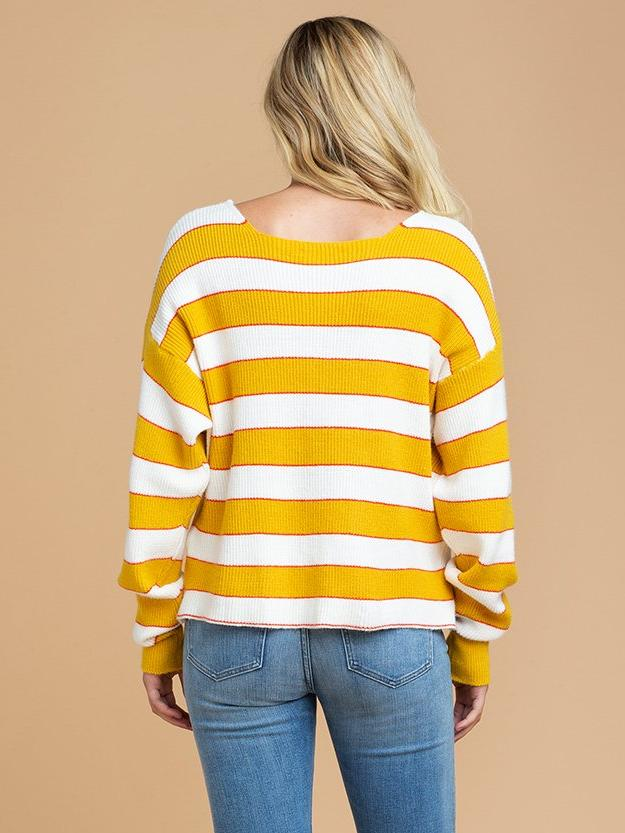 Goodnight Macaroon 'Scarlett' Striped Knitted Crew Neck Sweater Back