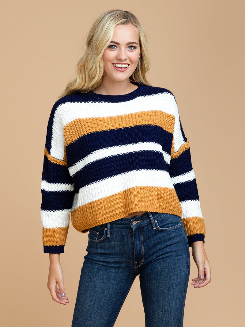 Goodnight Macaroon 'Maggie' Striped Cropped Crew Neck Sweater Front