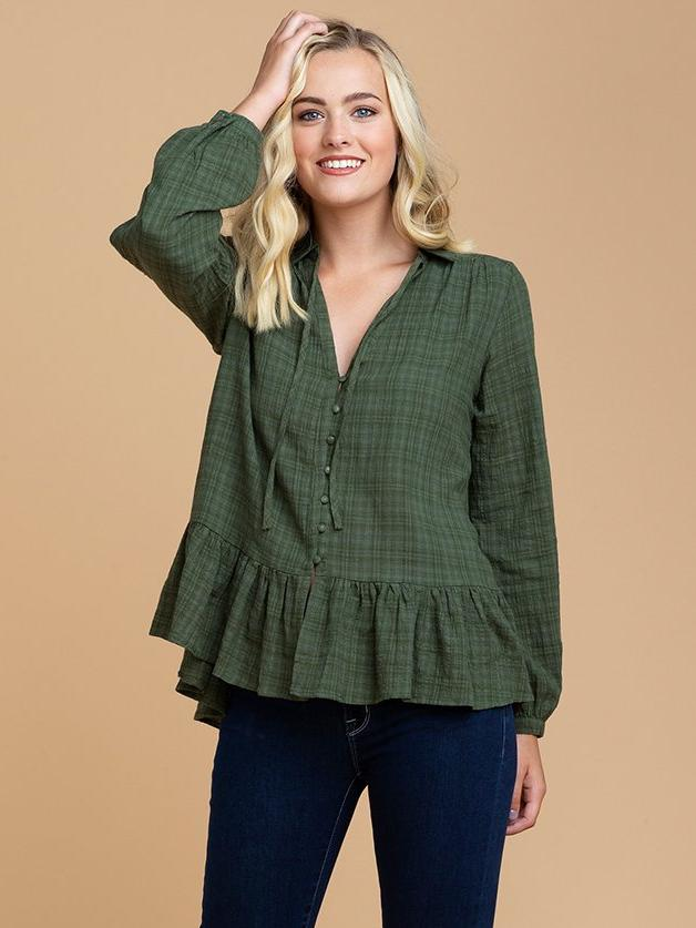 Goodnight Macaroon 'Samara' Green Plaid Tied Neck Pleated Peplum Blouse Model Half Body Front