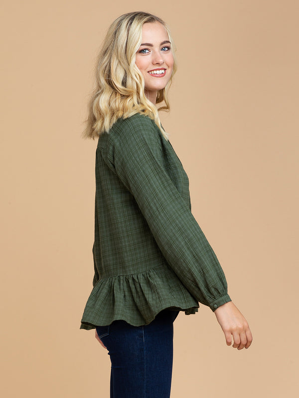Goodnight Macaroon 'Samara' Green Plaid Tied Neck Pleated Peplum Blouse Model Half Body Side