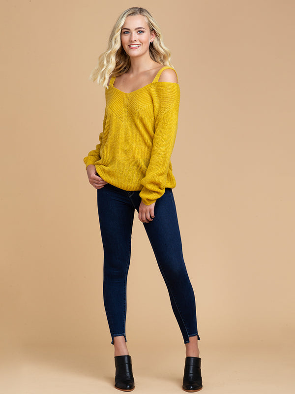 Goodnight Macaroon 'Tweety' Cut-Out Shoulder Sweater Full Body Front