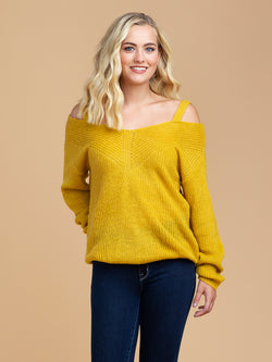 Goodnight Macaroon 'Tweety' Cut-Out Shoulder Sweater Half Body Front